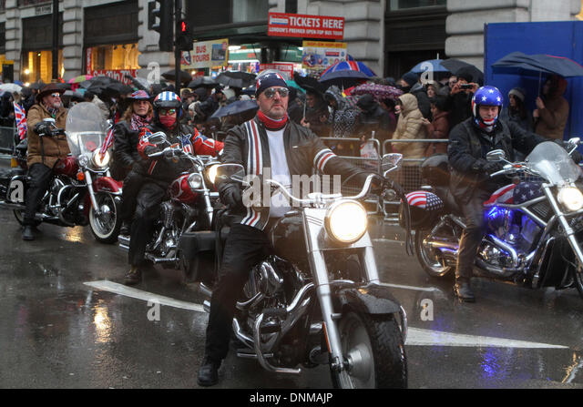 London,UK,1st January 2014,Motorbikes take part in the London's New Year's Day Parade 2014 Credit: Keith - Stock Image