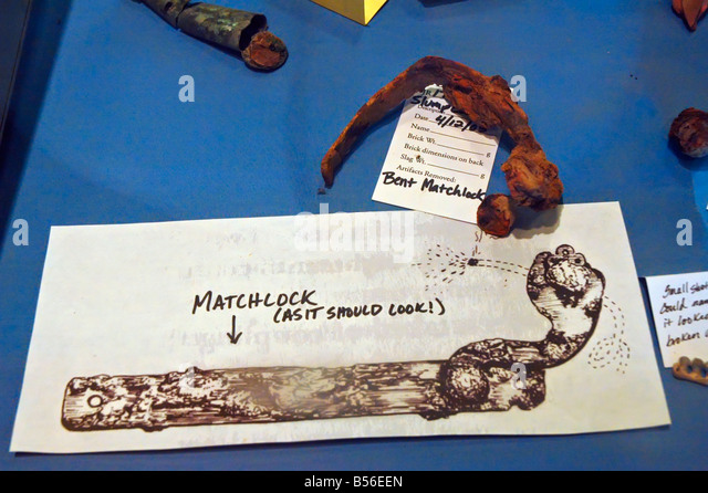 Historic Jamestowne archaeological artifacts recovered bent boat matchlock musket - Stock Image