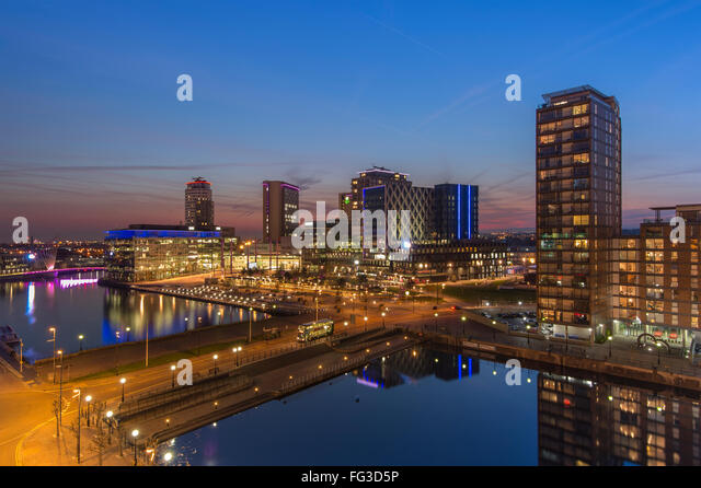 Media City at sunset, Salford Quays, Manchester. - Stock Image