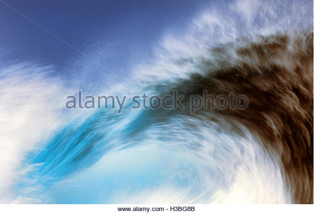 big wave breaking closeup - Stock Image