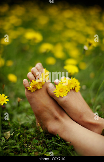 Girl puts yellow flowers between her toes. - Stock Image