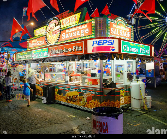 Carnival food vendor booth on the midway at the Alabama National Fair which is similar to a state fair, in Montgomery, - Stock Image