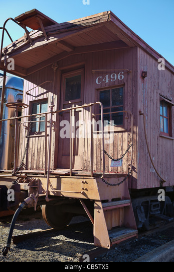 A B&O caboose on display outside at the B&O Railroad Museum, Baltimore, Maryland. - Stock Image