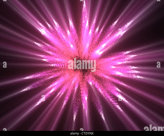 Pink lines of fluorescent ligths - Stock Image