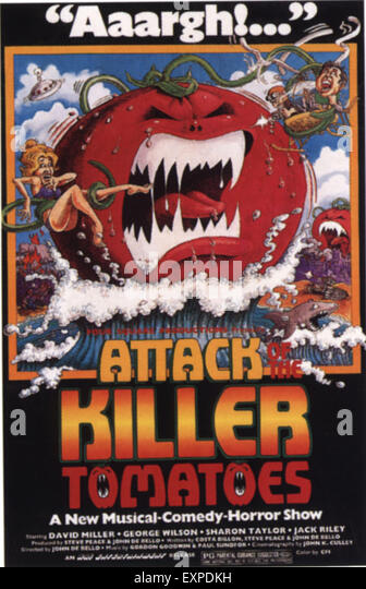 1970s USA Attack Of The Killer Tomatoes Film Poster - Stock Image