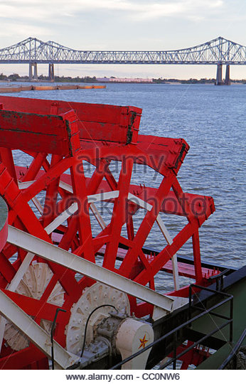 Louisiana New Orleans French Quarter Woldenberg Park Mississippi River Steamboat Natchez riverboat paddle wheel - Stock Image