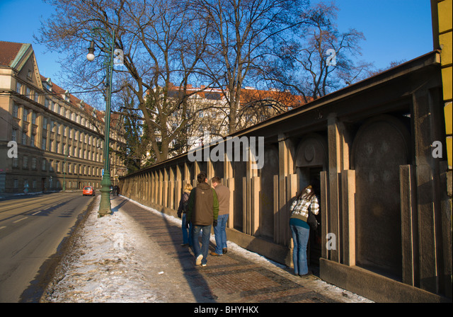 People walking along 17 Listopadu street Josefov central Prague Czech Republic Europe - Stock Image