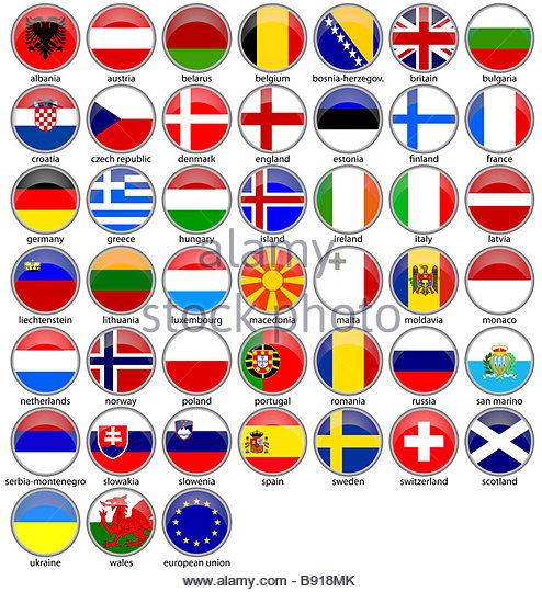 shiny european flagsset - Stock-Bilder