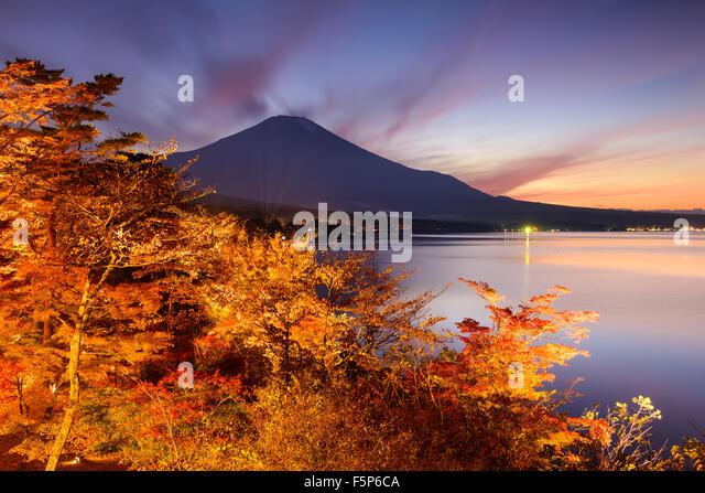 Fuji Mountain, Japan from Yamanaka Lake in the autumn. - Stock Image