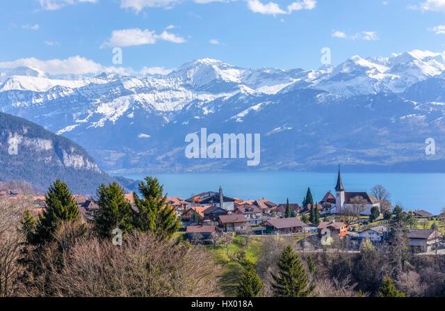 Lake Thun, Sigriswil, Berne, Switzerland, Europe - Stock-Bilder
