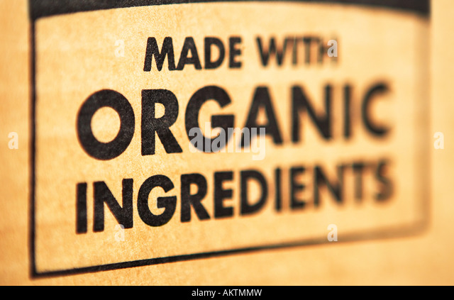 Organic ingredients label - Stock Image