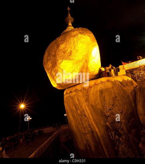 Golden Rock in Myanmar - Stock Image