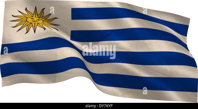 Digitally generated uruguay national flag - Stock Image