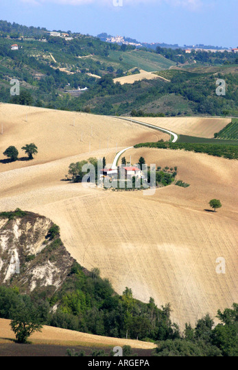 Typical patchwork countryside of Le Marche, the Marches, Italy - Stock Image