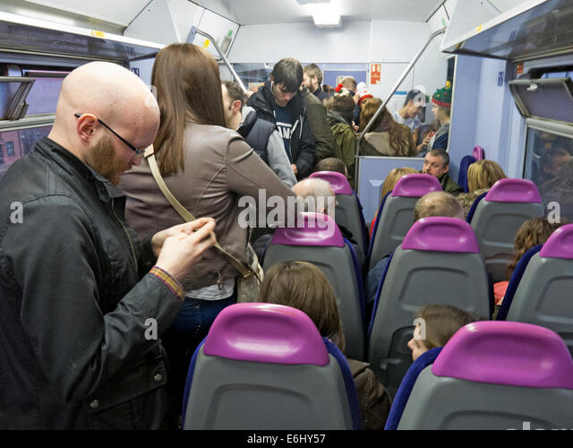 Congested Norther franchise train Warrington to Manchester Route - Stock Image