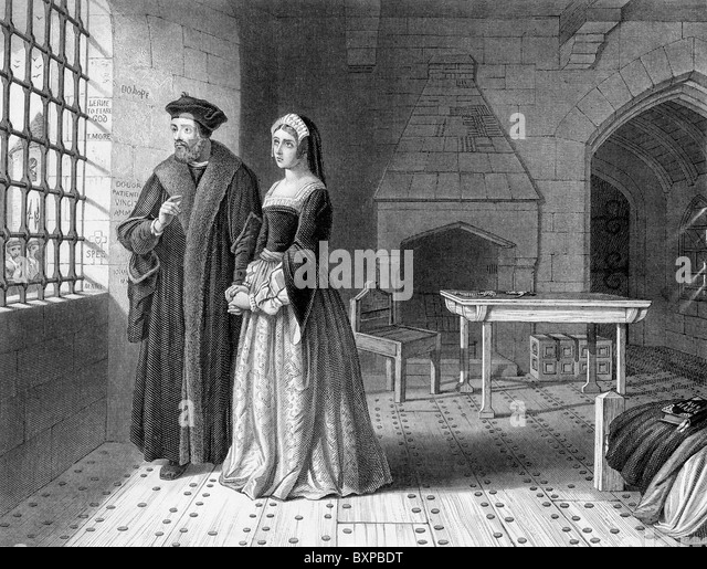 Sir Thomas More imprisoned in the Tower of London and his daughter, Margaret; Black and White Illustration; - Stock Image