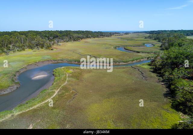 Jekyll Island Georgia State Park Clam Creek aerial - Stock Image