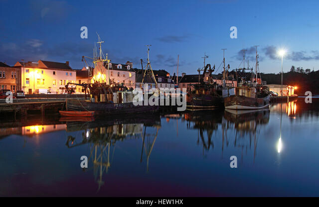 Stornoway Isle Of Lewis,harbour at dusk,Scotland,UK - Stock Image