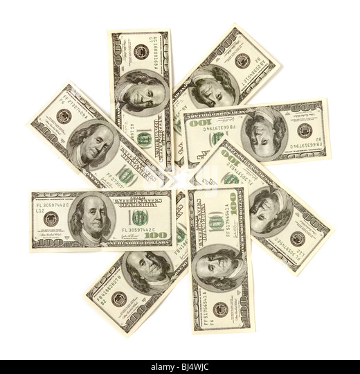 Artistic pattern made from dollar bills Snowflake star or closed aperture Isolated with a clipping path on white - Stock Image