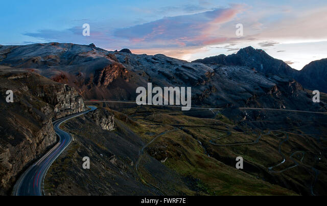 Road to 'El Alto'. Near La Paz. Bolivia - Stock Image