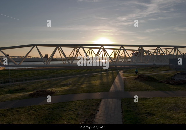 The power structure behind the Maeslant Storm Barrier, Southern-Holland, The Netherlands - Stock Image