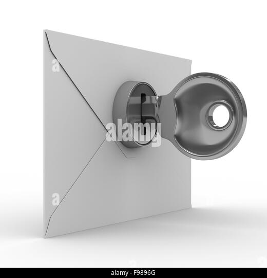 E-mail concept on white background. Isolated 3D image - Stock Image