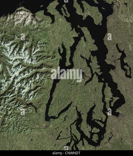 satellite image of Puget Sound, Seattle, Olympic Mountains Washington - Stock Image