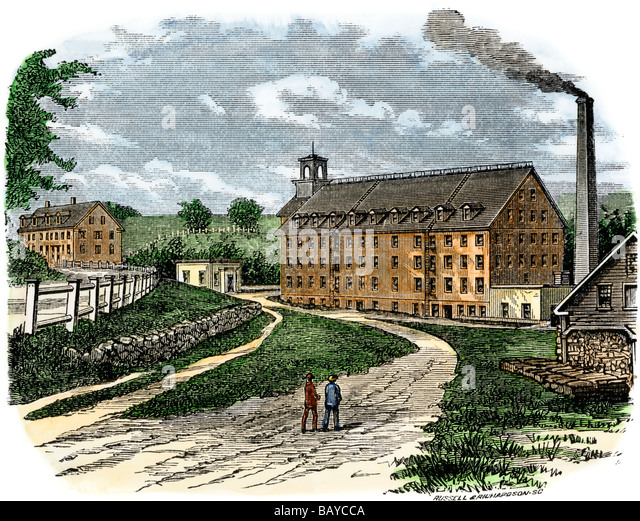 Sugar River textile mill in Newport New Hampshire about 1880 - Stock Image