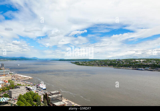The Saint Lawrence River viewed from Quebec City - Old Town, Ontario - Stock Image