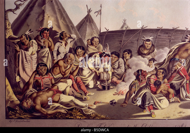 Drunken frolic amongst the Chippewas and Assinneboins, by Rindisbacher, West Point Museum, USA - Stock Image