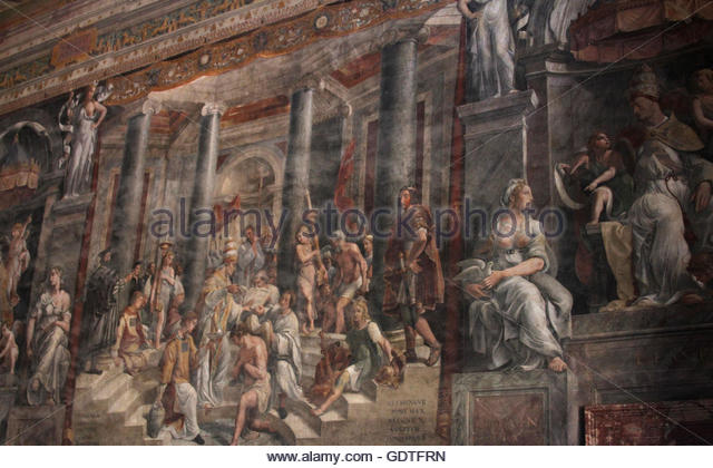 Painting Baptism of Constantine, Sala di Costantino, Vatican chambers, Vatican Museums, Vatican City, Rome, Italy. - Stock Image