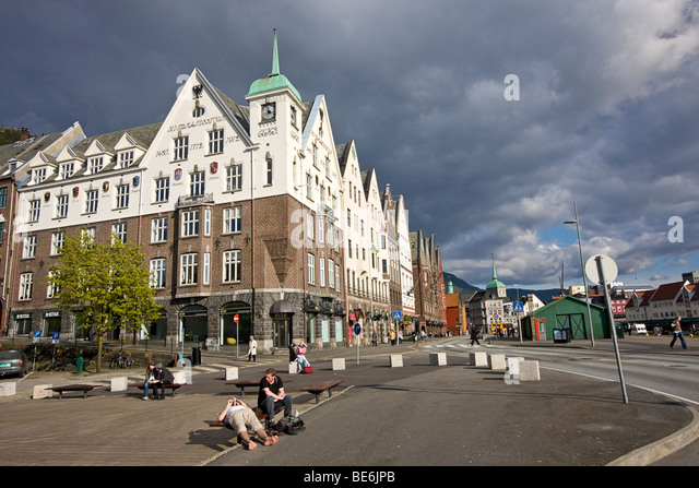 Waterfront in Bergen, Norway known as the Bryggen district. Old wood buildings date back to the 1700s - Stock Image