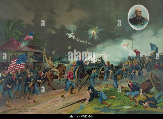Battle of Malate, Philippine Islands, on the night of July 31, 1898, during the Spanish American War. This was the - Stock Image