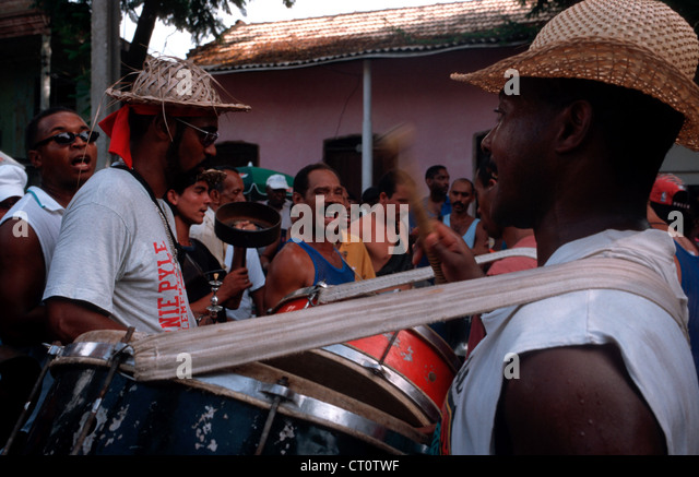 Buskers at the Carnival de Santiago - Stock Image