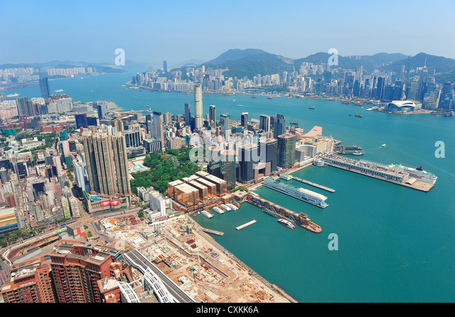 Hong Kong aerial view panorama with urban skyscrapers and sea. - Stock Image