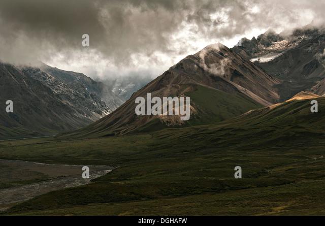 Polychrome glacier in Denali National Park Alaska - Stock Image