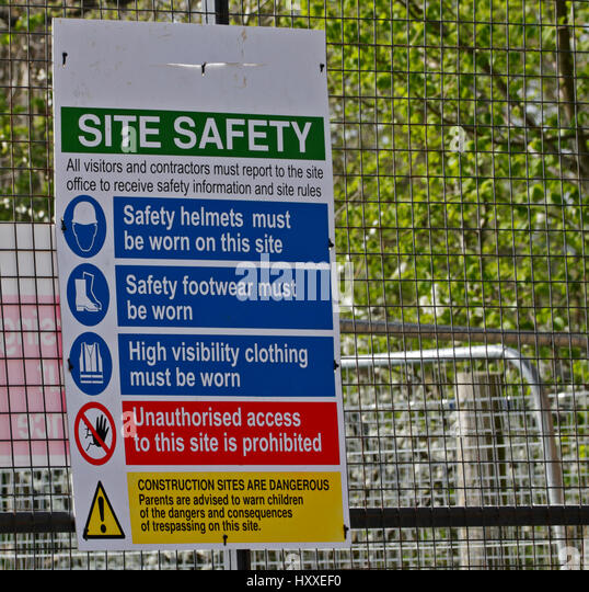 Health and safety sign uk stock photos health and safety for Construction rules and regulations