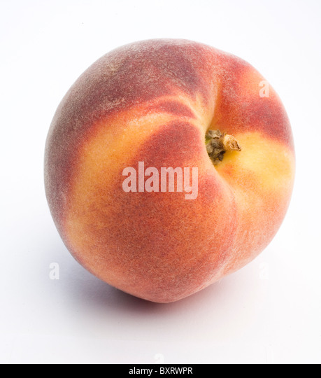 Red Haven peach on white background, close-up - Stock Image