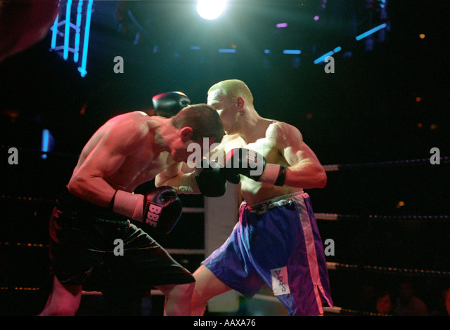 Boxing competition at Leicester Square in London. - Stock Image