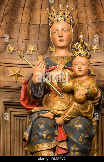 NOTRE-DAME DU PILIER, 16TH CENTURY POLYCHROME STATUE MADE OF PEAR TREE WOOD, GIVEN A CROWN IN 1855, (CALLED THE - Stock Image