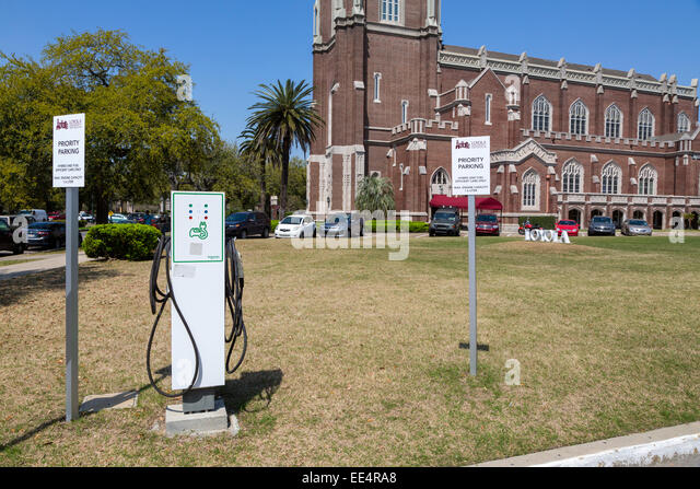 New Orleans, Louisiana.  Parking Reserved for Fuel-efficient Hybrid, Electric Cars, Loyola Univ.  Battery Re-charging - Stock Image