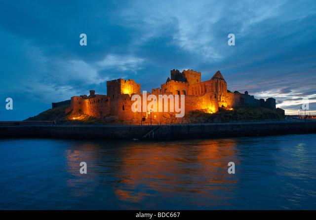 Peel Castle at Night Isle Of Man - Stock Image