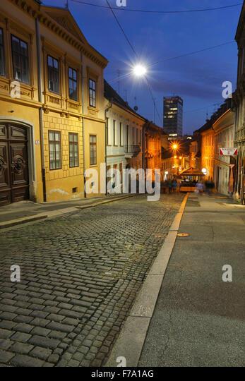 Zagreb night, upper town, Radiceva street - Stock-Bilder