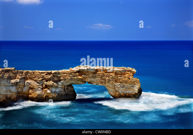 The Kamara (='arch') of Geropotamos, a natural rocky 'bridge' in an area also known as 'blue - Stock Image