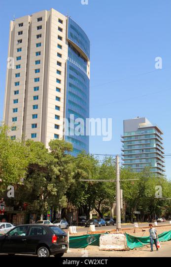 Mendoza Argentina Avenida Belgrano street scene Diplomatic Hotel luxury hotel high rise postmodern architecture - Stock Image