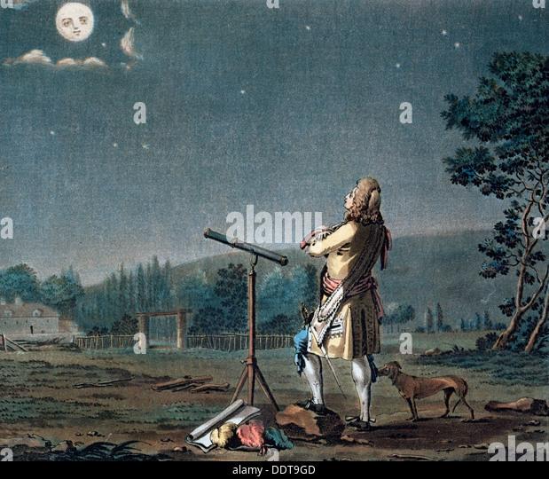 Bernard le Bovier de Fontenelle contemplating the plurality of worlds, 1791.  Artist: Jean Baptiste Morret - Stock Image