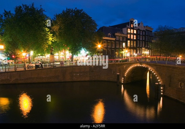 Amsterdam Herengracht at twilight - Stock Image