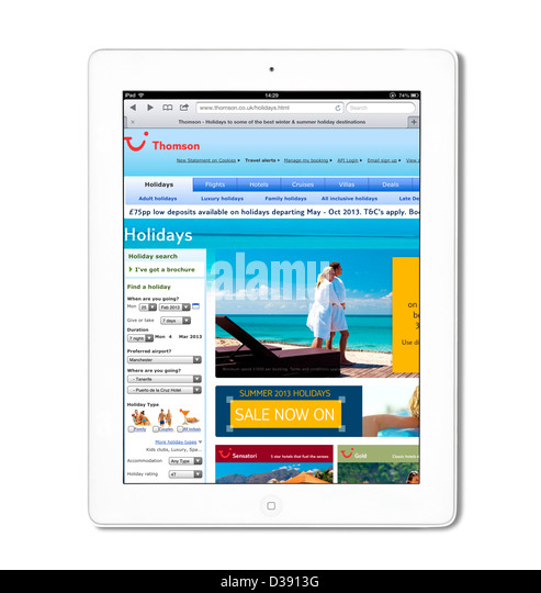 The Thomson Holidays website viewed on a 4th generation Apple iPad tablet computer, UK - Stock Image