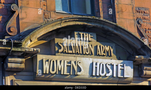 Art Nouveau Salvation Army Womens Hostel stone sign, West Port bottom of Grassmarket , Edinburgh old town Scotland - Stock Image