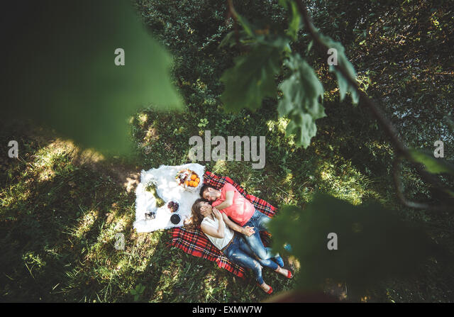 Couple on a picnik - Stock Image